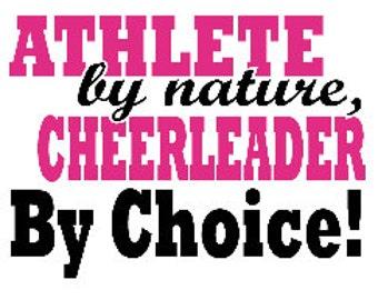 Cheer T Shirt/ Cheer Shirt/ Cheer Clothing/ Cheer Gift/ Athlete By Nature Cheerleader By Choice Cheerleading Short Sleeve T-Shirt Sports