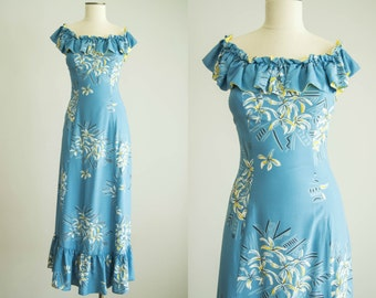 vintage 1940s dress / 40s Hawaiian Maxi Dress / small / Lani Kai Dress