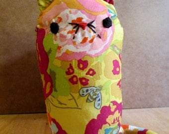 One of a kind Textile Cat Ornament