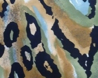"Vintage 80s Scarf Fabric Wild Animal Print 1.25yards x 58"""