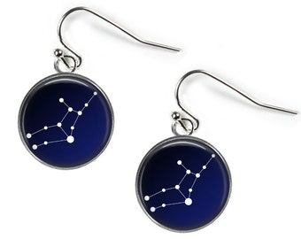 VIRGO Constellation Sky Stars Zodiac - Glass Picture Earrings - Silver Plated (Art Print Photo)