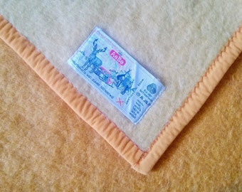 Dutch vintage wool blanket Aabe made in Holland 205-240 cm