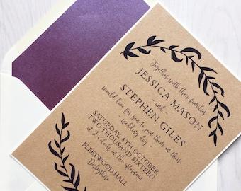 Rustic wedding invitation - burgundy wedding invitation - wedding invitation bundle