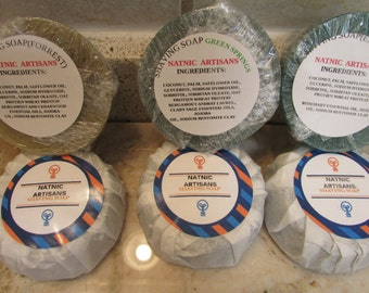 Handmade   Shaving Melt and Pour Soap Puck Refills (1A--Forest,  1B--Green Springs, and 1C--Emerald )