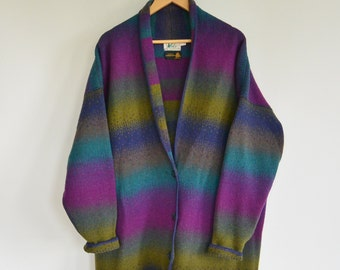 Over Sized Wool Cardigan Sweater Jacket REI Women's Large Pure Wool Multi Colored Over Sized Shawl Collar Cardigan Sweater Jacket Blazer