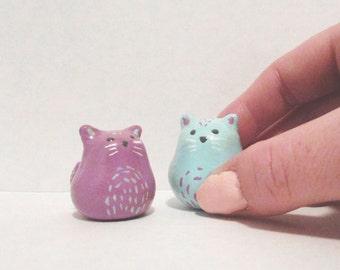 Mini Chubby Cats / Polymer Clay Animal Totem / collectible kitty animal tiny