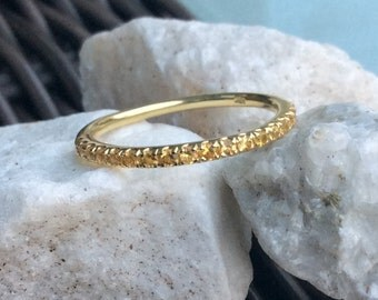 14K Citrine Eternity Band 1.7mm 14K Citrine Pave Half Eternity Ring 14K Citrine Matching Band 14K Citrine Wedding Band Stacking Ring