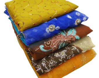 Multicolor Dress Veil Vintage Stole Indian Traditional Clothing Lot of 5 Dupatta Long Indian Scarf Mix Decorative Fabric Deco Wrap DP28887