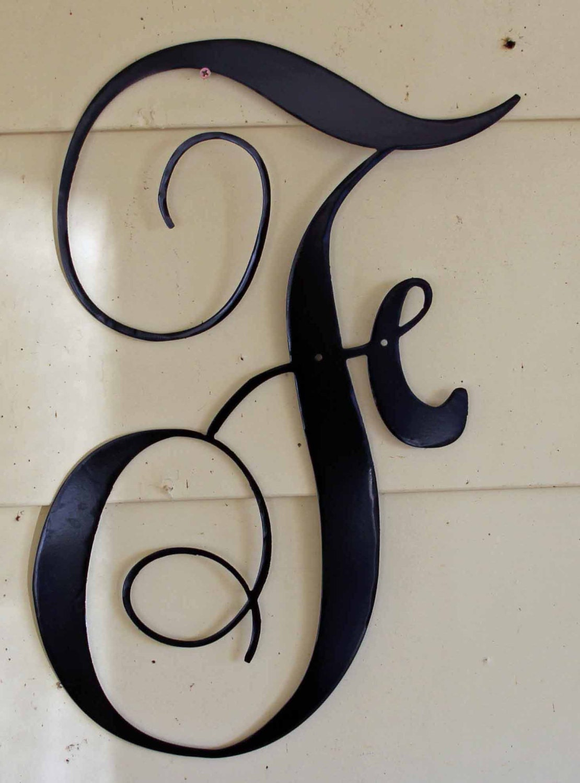 Metal Script Letters 12 Inch Black Script Metal Letter F Door Or Wall Hanging