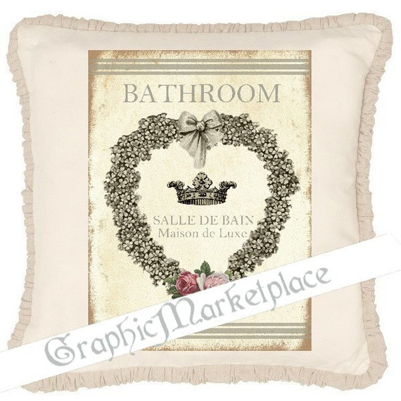 bathroom salle de bain door hanger sign shabby chic. Black Bedroom Furniture Sets. Home Design Ideas
