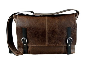 Handmade Rustic Brown Leather Messenger Bag- Personalized