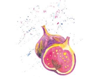Fig Watercolor Print, Watercolor Fruit Wall Art Print, Kitchen Wall Decor, Fruit Watercolor Painting, Fig Decor