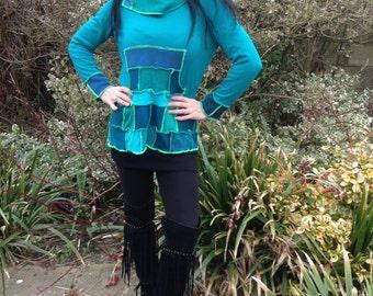 upcycled aqua blues jumper/hoody size uk10-12
