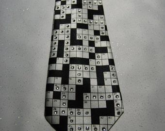 Crossword puzzle rhinestone necktie