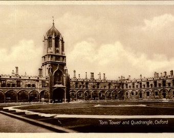 Oxford, England, UK, Tom Tower, Quadrangle, RPPC, Real Photo, Vintage Postcard