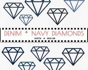 Denim Navy DIAMONDS Digital Clipart 10 psc PNG - Instant Download {denim clipart, clip art, navy diamonds, diamonds clipart}
