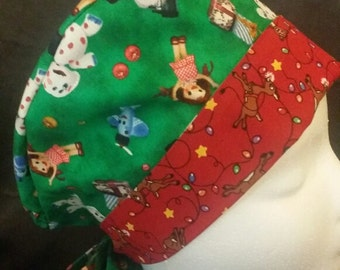 Rudolph the Red Nosed Reindeer Misfit Toys Wrap Style Surgical Scrub Hat and Chemo Cap 2