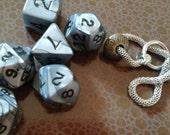 Silver color Polyhedral dice set with mesh bag and bracelet D&D Pathfinder