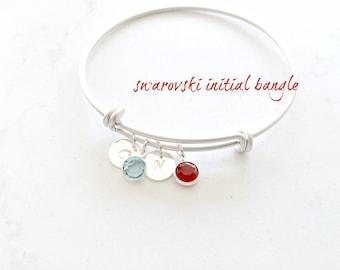 Personalized Bangle,2 Initials Bangle,Birthstone Bangle,Swarovski Bangle,Silver,Letters,Custom,Mother's bracelet,family,Bridesmaid Gifts