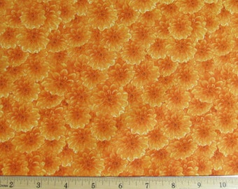 Per Yard, Danscapes Mini Mums Orange Fabric From RJR