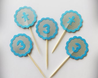 24 Blue Baby Cake Toppers, Cupcake Picks, Party Decor, Cupcake Toppers, Bridal Party, Baby Girl Picks, Birthday Party,  Baby Shower Party