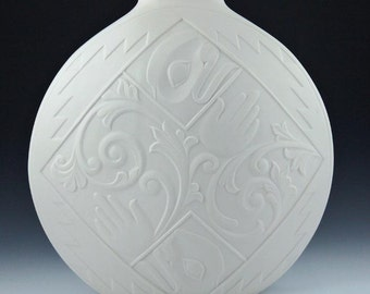 "Porcelain translucent  ""Assurance""artvase by Metis Artist Terry Jackson ,Northwest Coast Indian art style wedding gift.20th anniversary gift"