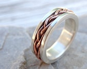 braided ring silver copper, unique wedding band silver, mens eternity ring mixed metal, celtic mens ring medieval wedding, anniversary gift