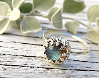 labradorite engagement ring silver, silver labradorite ring, wedding band silver ring filigree crown ring silver personalized gift for women