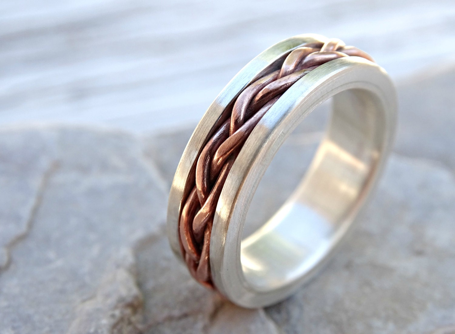 Braided ring silver copper unique wedding band silver mens for Cool wedding rings men
