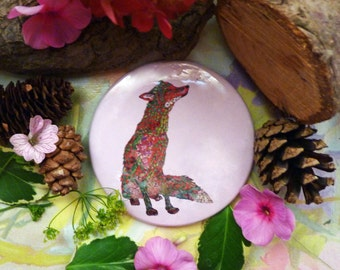 """Fox Mirror 3"""" Pocket Mirror Girls Pocket Mirror travel Mirror Artwork Mirror -Lovely character doodle fox & butterfly design. A Perfect gift"""