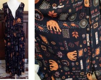 VTG 90's grunge BILA dress India rayon black elephants hippie Gypsy maxi