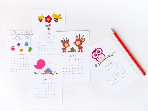 Diy Kids Calendar : Printable kids calendar diy animal cute by