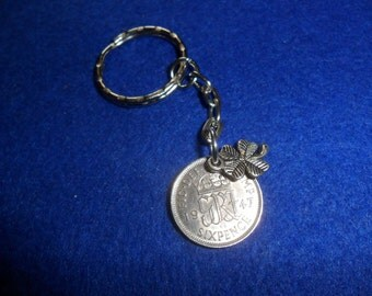 70th birthday gift 70th Birthday present 1948 lucky sixpence British coin keyring or bag charm unusual gift for a man gift for a woman
