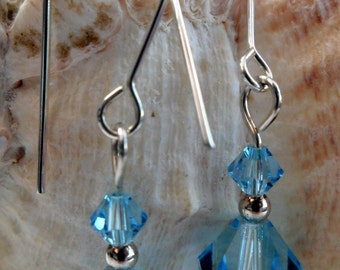 J0678 - Sterling Silver Light Blue Swarovski Crystal Earrings