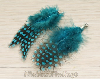 F006-TEAL // Teal Colored Fluffy Top Polka Dot Feather Pendant, 2 Pc