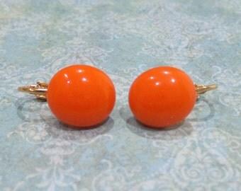 Orange Clip On Earrings, Orange Clipon Earings, Fused Glass, Fashion Jewelry, Halloween - Random - -6