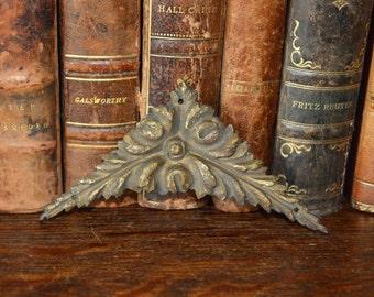 Antique French Rosette Bronze Corner Rosette Hardware Ornate