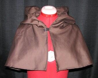 Medieval Renaissance Brown Cloak Cape Mantle Hood