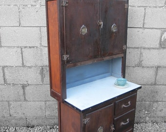 1940s Antique Enamel Kitchen Cupboard Cabinet Storage Kitsch Steampunk