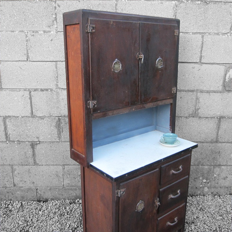 1940s Antique Enamel Kitchen Cupboard Cabinet Storage Kitsch