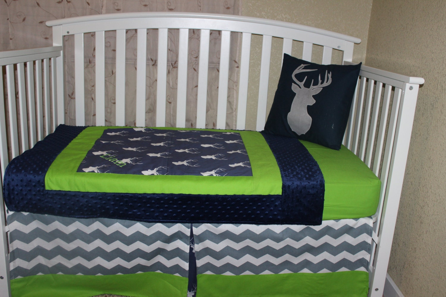 Crib Bedding Set Navy Blue And Lime Green Deer Head And Grey