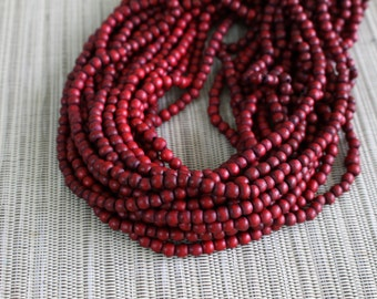 4-5mm Burgundy Red Round Wood Beads - Dyed and Waxed - 15 inch strand