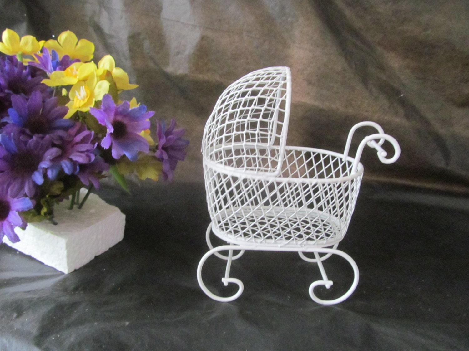 Vintage Mini Wire Baby Carriage Great For Baby Shower Favors