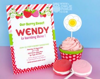 Strawberry BIRTHDAY Party Printable 5 x 7 inch Invitation, INSTANT DOWNLOAD, You Edit Yourself with Adobe Reader