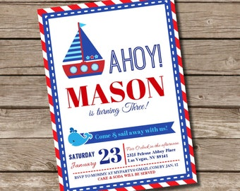 Nautical BIRTHDAY Printable 5 x 7 inch Invitation, INSTANT DOWNLOAD, You Edit Yourself with Adobe Reader