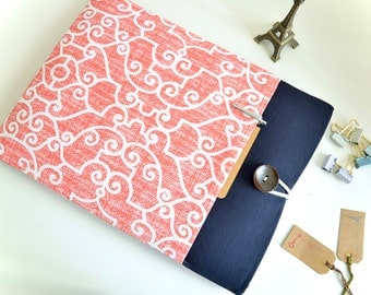 "iPad Mini 4, Kindle Cover, Amazon Fire HDX 7"", 8.9"", Kindle Paperwhite Sleeve - Coral and Navy"