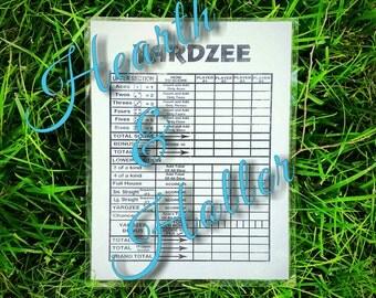 Yardzee Laminated Score Card for lawn dice game