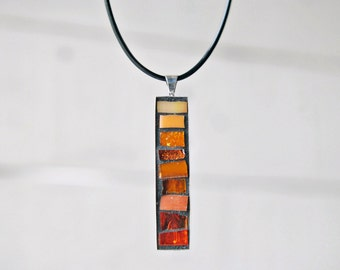 Pendant Necklace, Mosaic Pendant, Orange Jewelry, Unique Gifts for Women