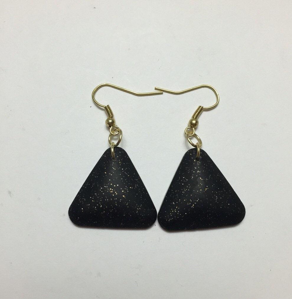sparkly black triangle dangle earrings nickel free fishhooks. Black Bedroom Furniture Sets. Home Design Ideas