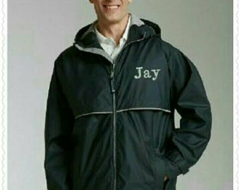 Men's Charles Rivers Monogrammed Rain Jacket/Men's Rain Coat/Charles Rivers/New Englander Rain Jacket/Adult Rain Coat/Personalized/Rain Coat